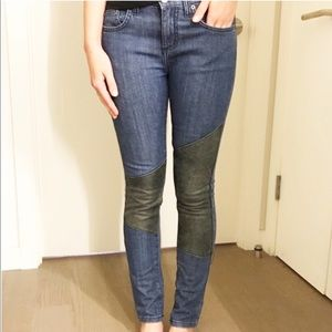 Carmar by LF denim and leather knee jeans